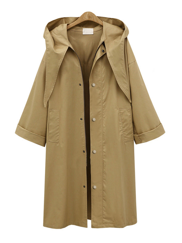 Fashion Hoodie Pockets Casual Solid Trench Coat