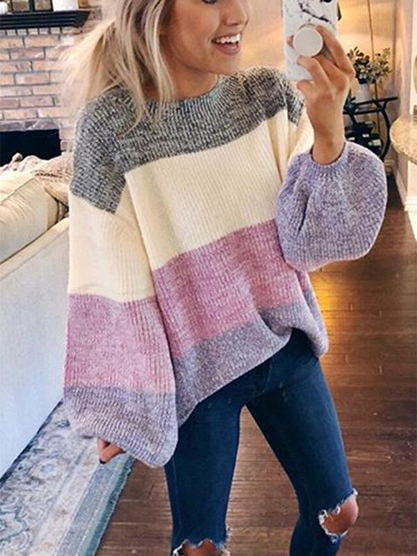 Long Sleeve Knitted Round Neck Casual Sweater