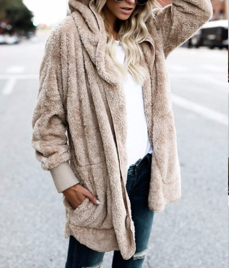 Solid Long Sleeve Casual Hoodie Pockets Winter Plus Size Teddy Bear Coat