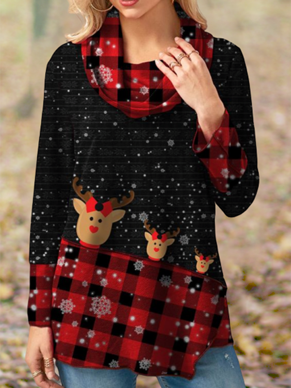 Christmas casual fawn printed plaid shirt