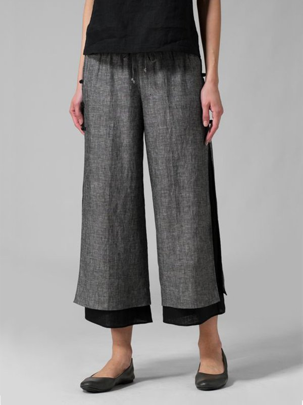 Casual Chic Splited Linen Capris Pants With Linning