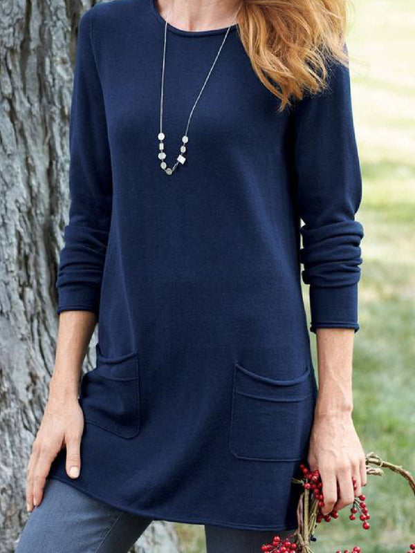Blue Knitted Round Neck Long Sleeve Pockets Shirts & Tops