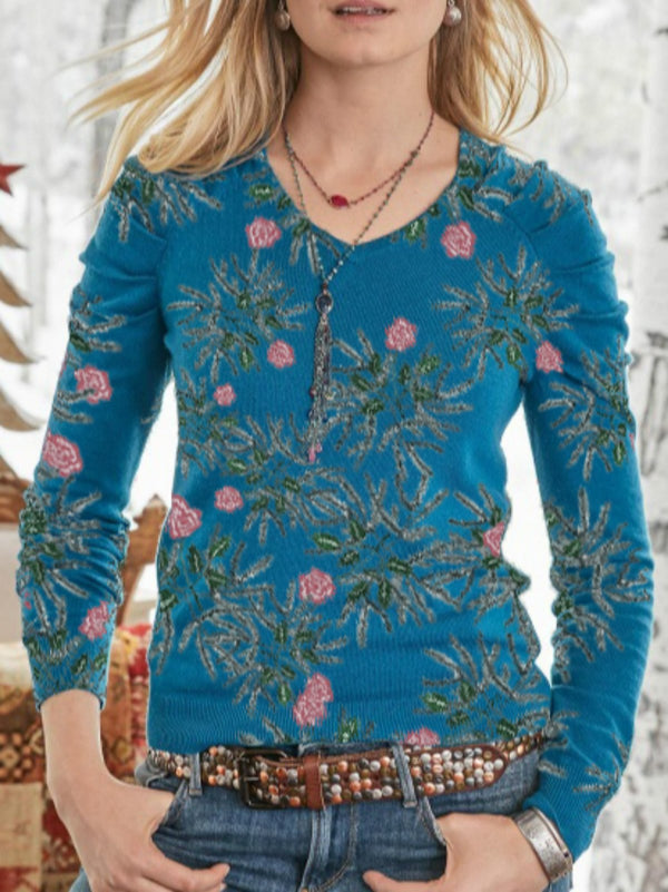 Blue Boho Floral Round Neck Shirts & Tops