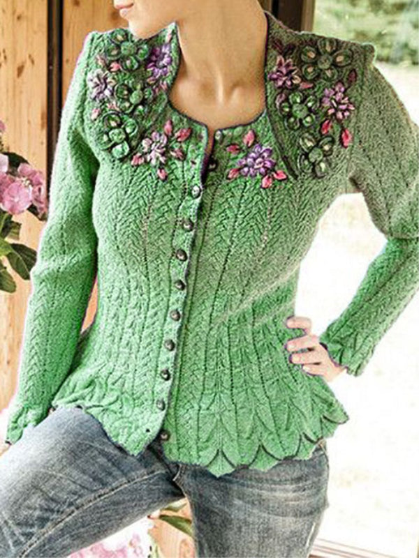 Embroidered Long Sleeve Casual Knitwear Outerwear