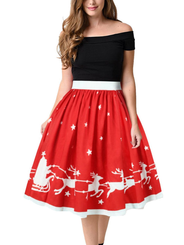 Red Ladies' Printed Skirt