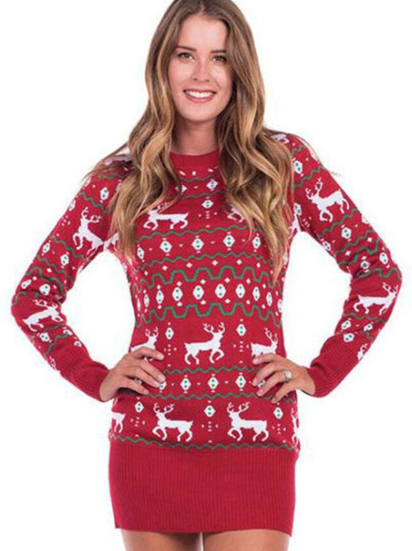 Plus size Crew Neck Long Sleeve Chirstmas Tops