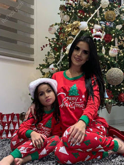 Happy Christmas classic elements split soft and smooth home service mother and daughter parent-child suit