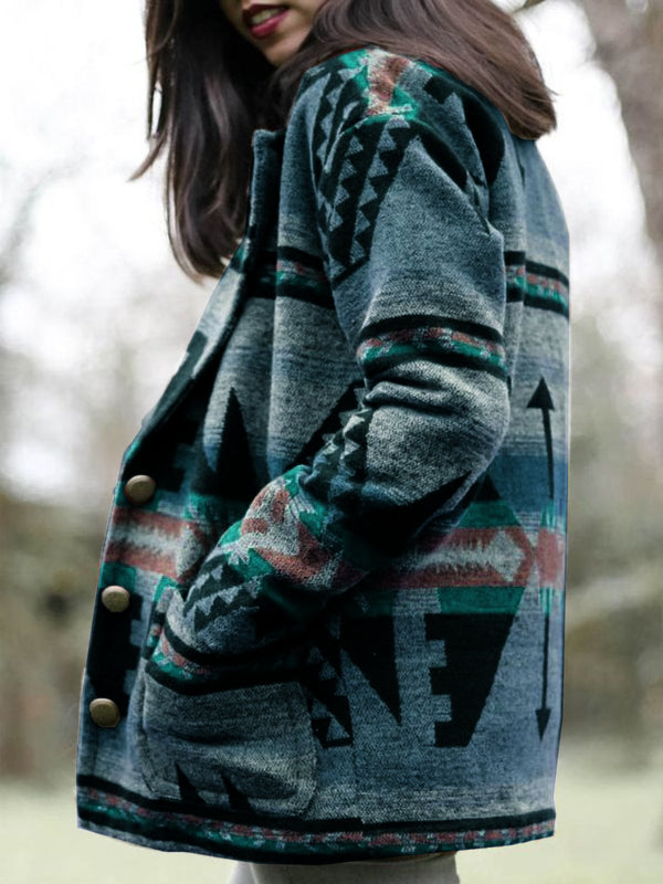 Plus Size Tribal Shift Outerwear