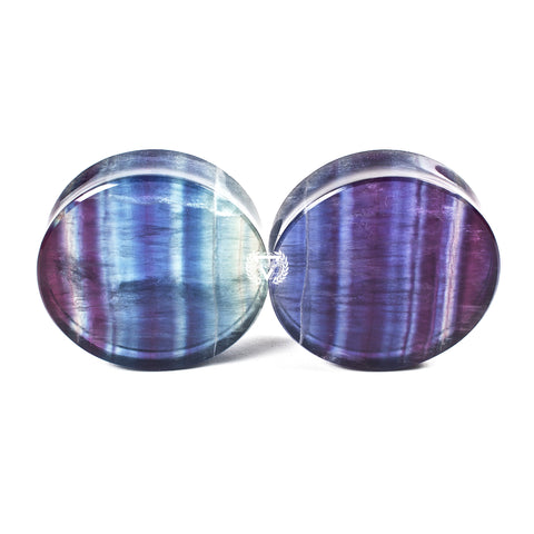 "2"" (51mm) Rainbow Fluorite stone plugs  #6785 - BC Plugs"