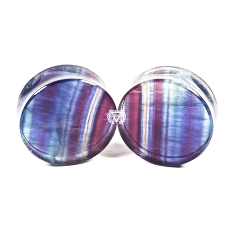 "1-1/2"" (38mm) Rainbow Fluorite stone plugs  #6787 - BC Plugs"
