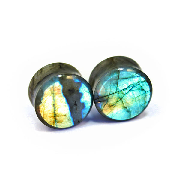 "3/4"" (19mm) High Flash Labradorite stone plugs  #7619"