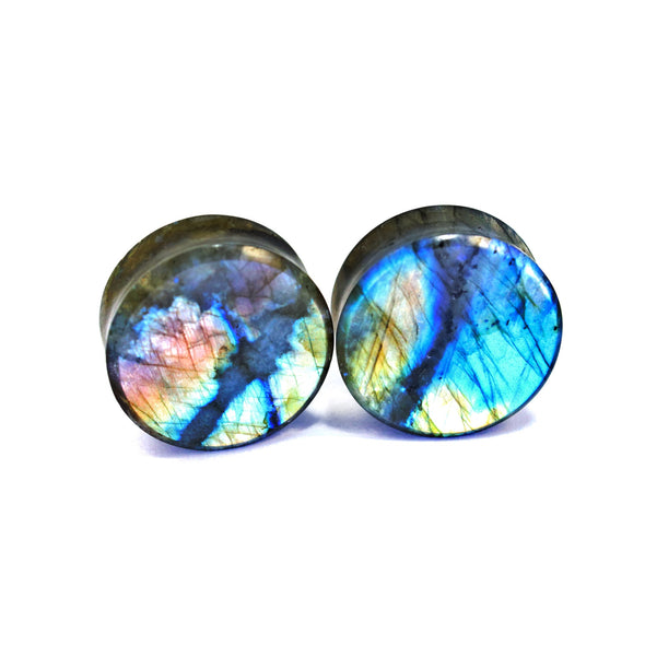 "1-1/8"" (28mm) High Flash Labradorite stone plugs  #7627"