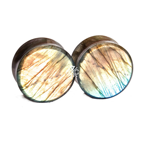 "7/8"" (22mm) High Flash Labradorite stone plugs  #7794 - BC Plugs"