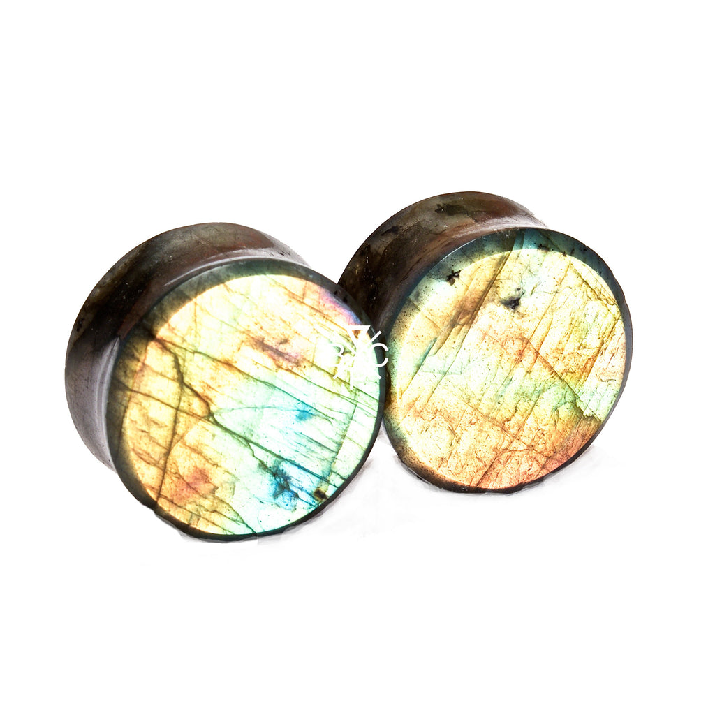 "7/8"" (22mm) High Flash Labradorite stone plugs  #7795 - BC Plugs"
