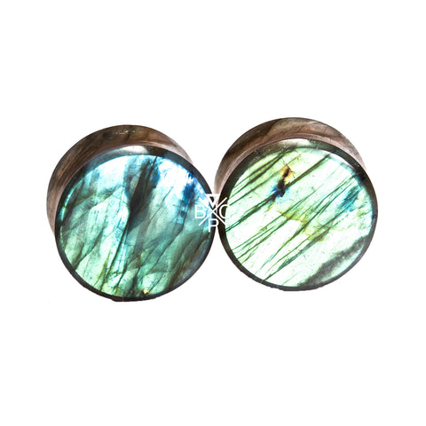 "7/8"" (22mm) High Flash Labradorite stone plugs  #7798 - BC Plugs"