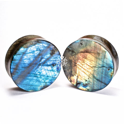 "1-1/2"" (38mm) High Flash Labradorite thick cut stone plugs  #7805 - BC Plugs"