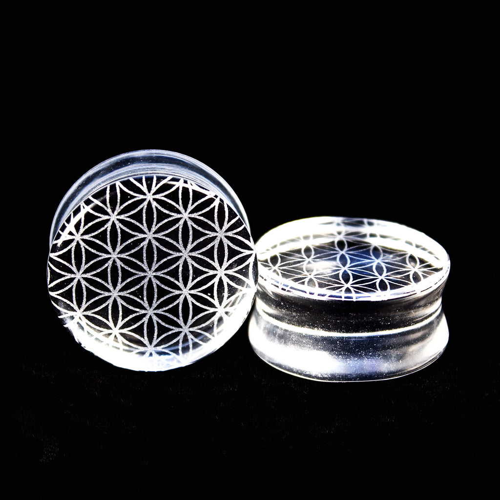 Flower of life Clear Glass Plugs