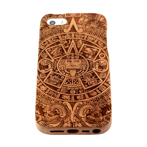 Aztec Calendar iPhone 4/4S case Walnut - BC Plugs  - 1