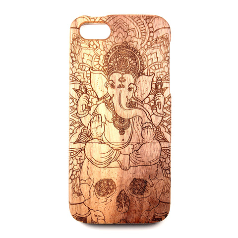 iPhone 4/4S Walnut Ganesh Skull - BC Plugs  - 1