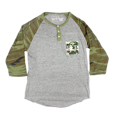 Camo Sleeve 3 Button Raglan - BC Plugs