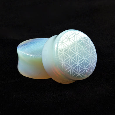 Flower of life Opalite stone Plugs - BC Plugs