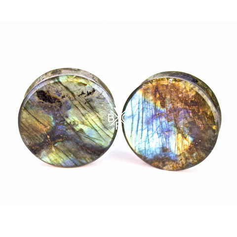 "1-1/4"" (32mm) High Flash Labradorite stone plugs  #2075"