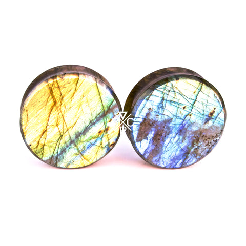 "1-1/4"" (32mm) High Flash Labradorite stone plugs  #2077"