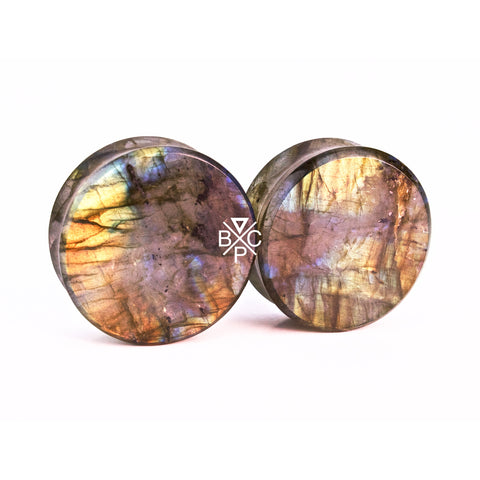"1-1/8"" (28mm) High Flash Labradorite stone plugs  #2078"