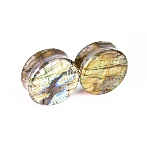 "1"" (25mm) High Flash Labradorite stone plugs  #2081"
