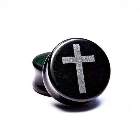 Cross Black Obsidian Plugs