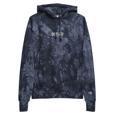 Death Metal Embroidered Champion tie-dye hoodie