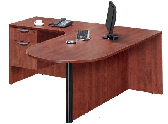 Bullet desk workstation with box/file pedestal