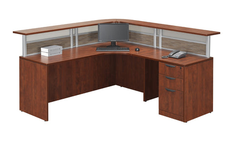 Reception Desk with Split Fabric and Acrylic Privacy Screens