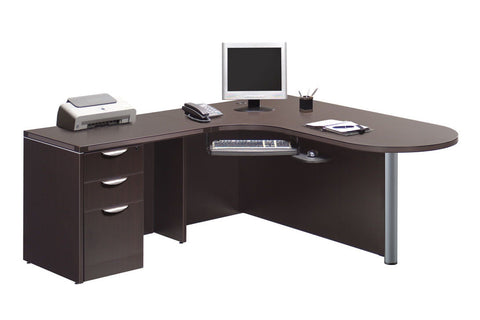 "Bullet Desk Corner Station with Box/Box/File Pedestal 71"" x 77"""