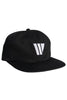 W LOGO 6 PANEL BLACK HAT