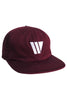 W LOGO 6 PANEL BURGANDY HAT