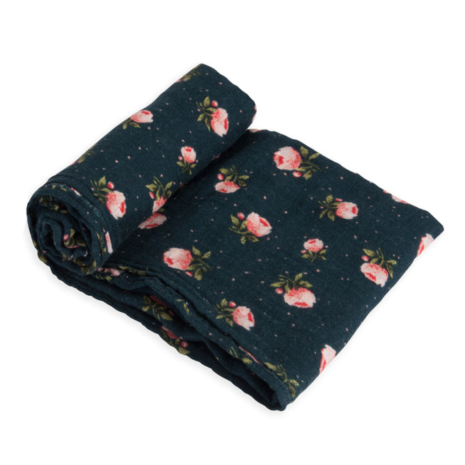 Cotton Muslin Swaddle - Midnight Rose