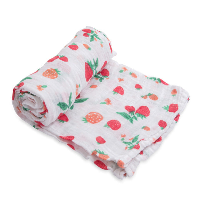 Cotton Muslin Swaddle - Strawberry