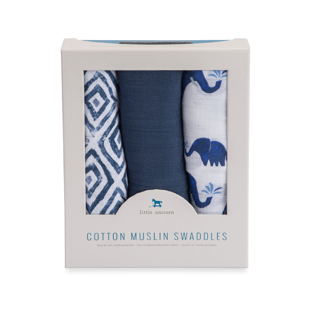Cotton Muslin Swaddle | Indie Elephant - 3pk