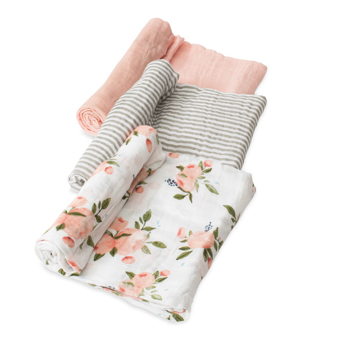 Cotton Muslin Swaddle | Watercolour Roses - 3pk