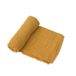Cotton Muslin Swaddle - Mustard