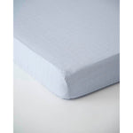 Cot Sheet | Cotton Muslin - Cloud Blue