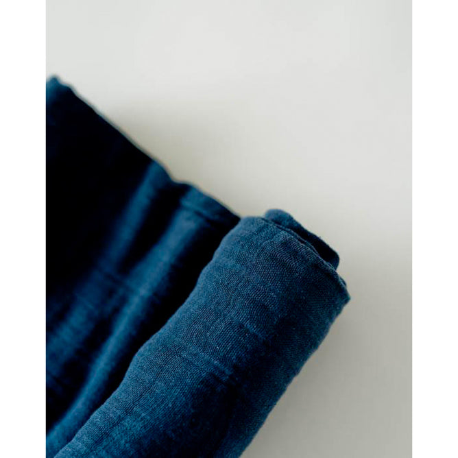 Cot Sheet | Cotton Muslin - Indigo Wash