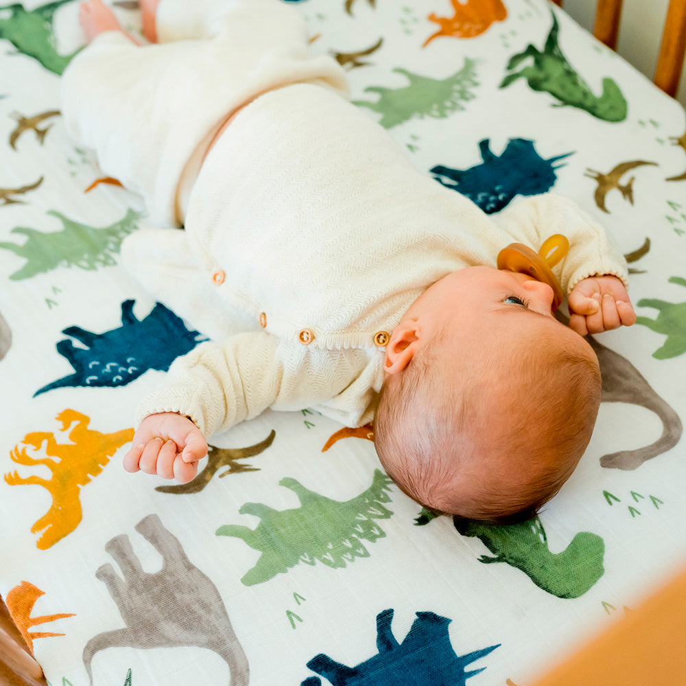 Cot Sheet | Cotton Muslin - Dino Friends