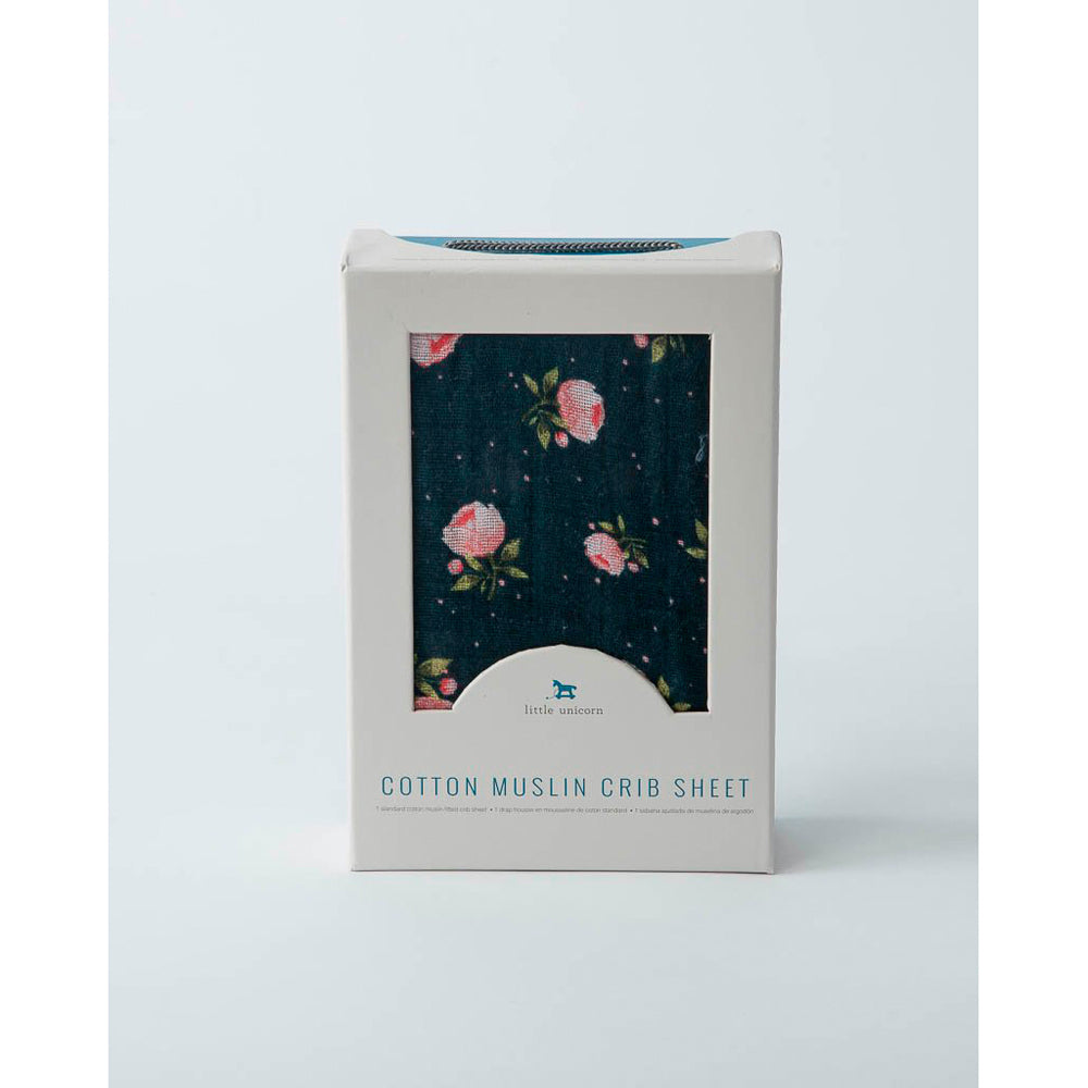 Cot Sheet | Cotton Muslin - Midnight Rose