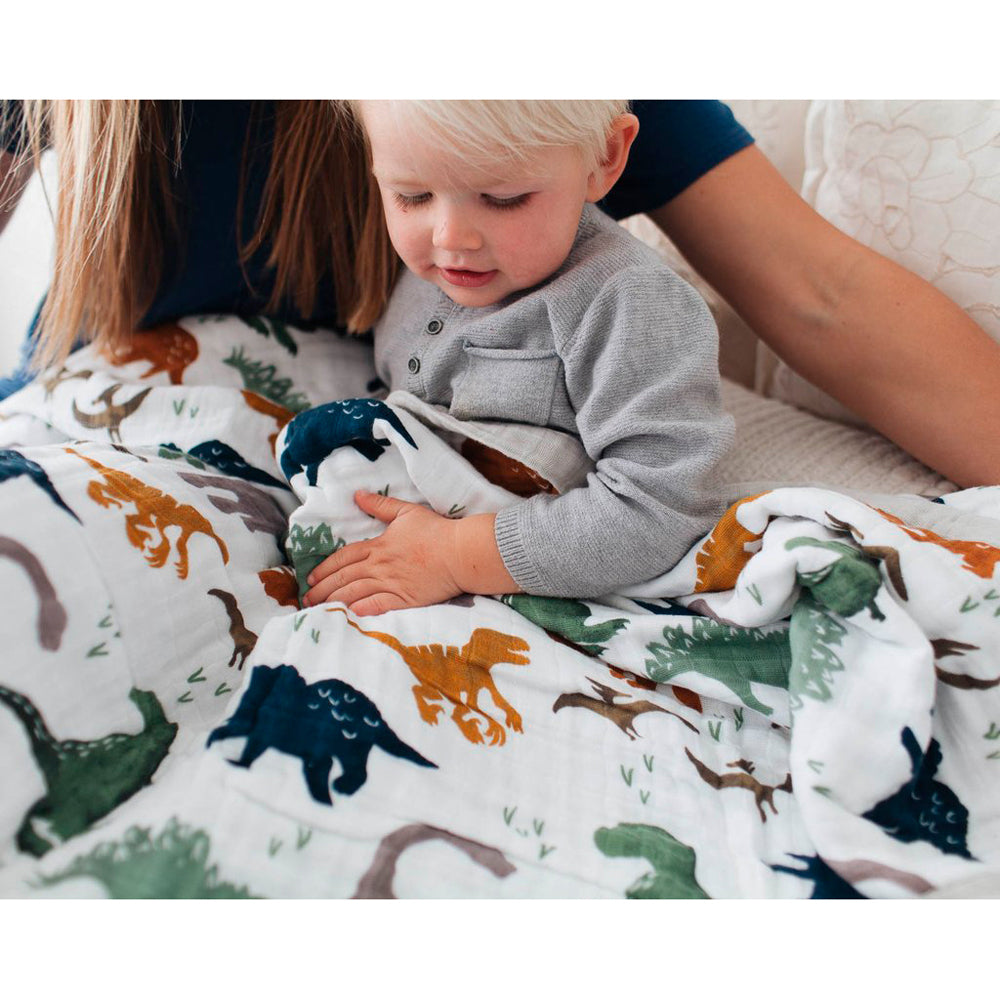 Big Kids Quilt | Cotton Muslin - Dino Friends