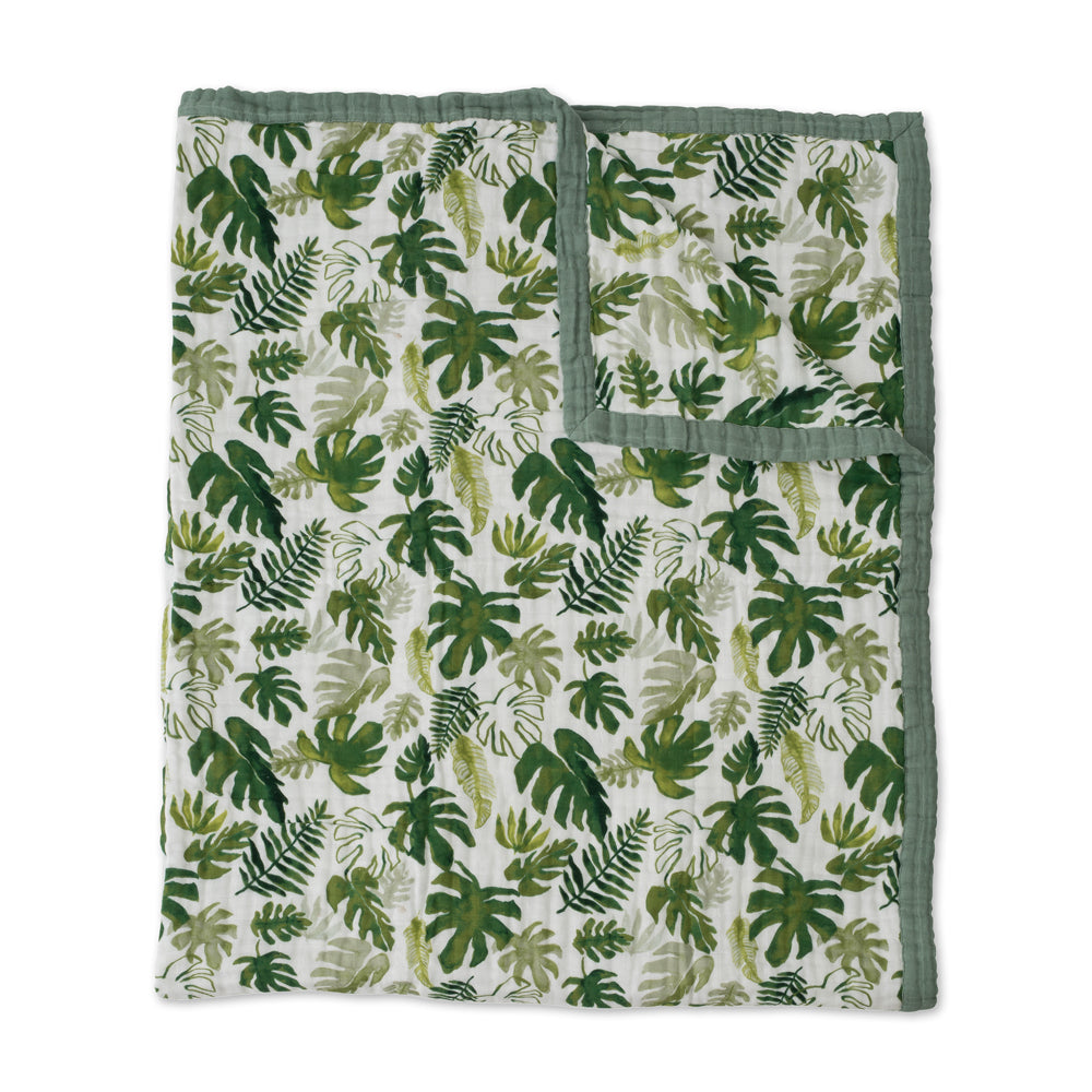 Big Kids Quilt | Cotton Muslin - Tropical Leaf