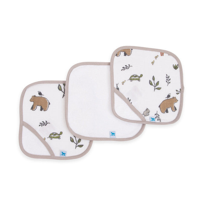 Cotton Wash Cloth 3pk - Forest Friends