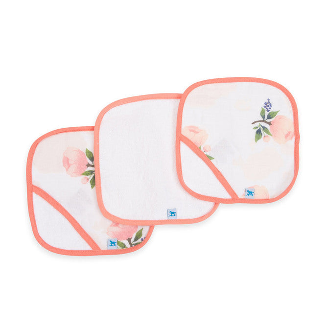 Cotton Wash Cloth 3pk - Watercolour Rose