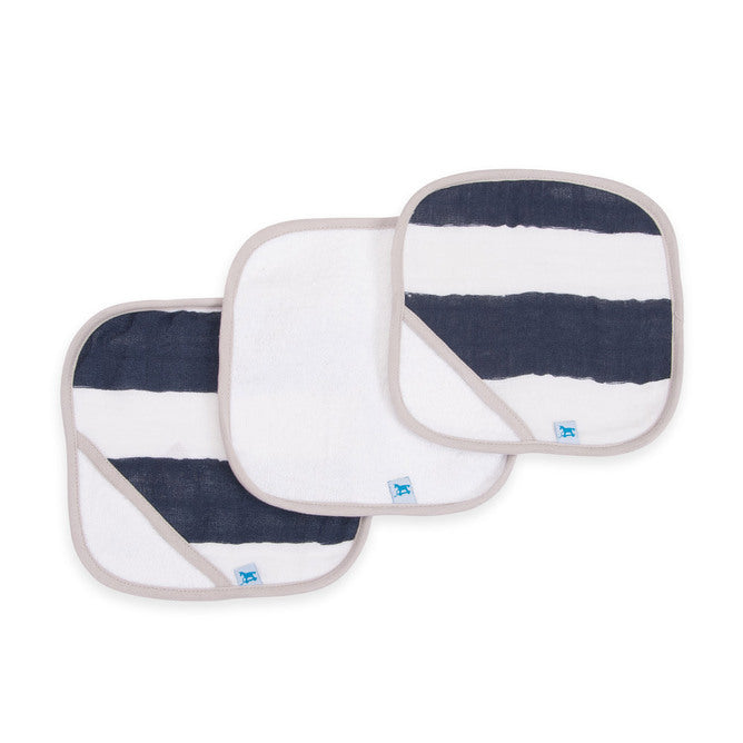 Cotton Wash Cloth 3pk - Navy Stripe